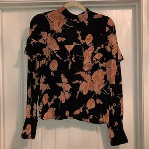Flynn Skye Tops - Free People Flynn Skye Pink and Black Floral Top